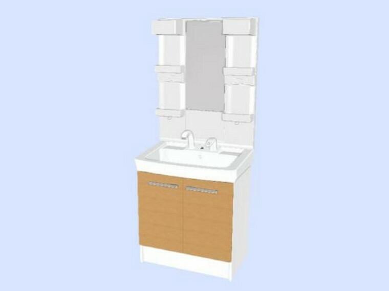 【同仕様写真】洗面化粧台はLIXIL製の新品に交換します。実容量15Lの大型の洗面ボウルは洗顔・洗髪はもちろん、つけ置き洗いにも使えます。照明はLEDライトです。