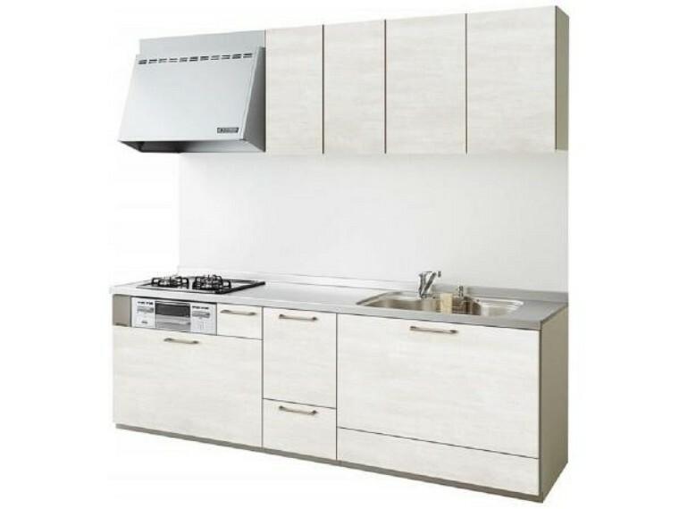 キッチン 【同仕様写真】キッチンは永大産業製の新品に交換します。水はねを抑える静音シンクを標準採用。引出には一升瓶や寸胴鍋など背の高いものも収納できます。天板は熱や傷にも強い人工大理石仕様なので、毎日のお手入れが簡単です。