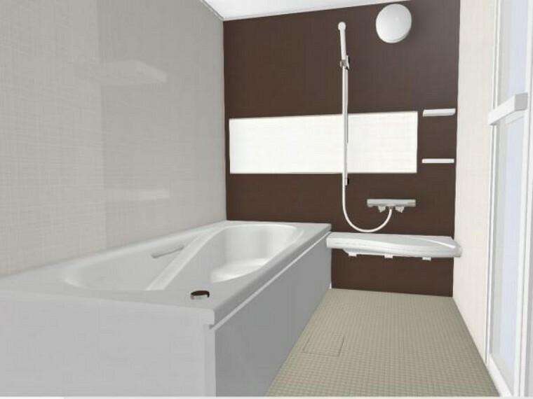 浴室 【同仕様写真】浴室はLIXIL製の新品のユニットバスに交換します。床は水はけがよく汚れが付きにくい加工がされているのでお掃除ラクラクです。スイッチひとつで追い焚き、足し湯ができるお風呂リモコンを設置予定。