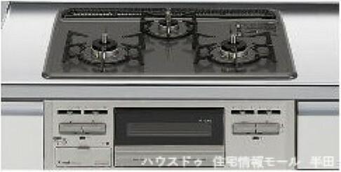 同仕様写真(内観) ホーロートップタイプの3口コンロ ※コンロイメージ図