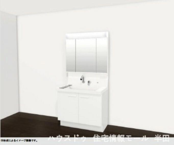 汚れにくくお手入れも簡単な「ひろびろボウル&くるくる水栓」のシャンプードレッサー ※洗面台イメージ図