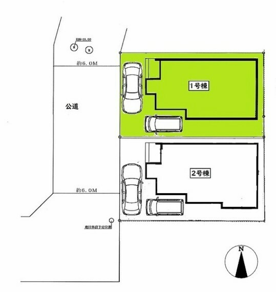 区画図 敷地面積:100.20平米 お車2台駐車可能です