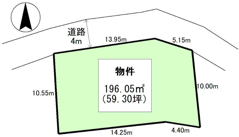 土地図面 公簿:196.05平米(59.3坪)
