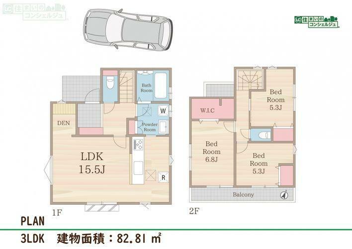 間取り図 《間取図》3LDK+WIC+カースペース敷地面積:104.46m2建物面積:82.81m