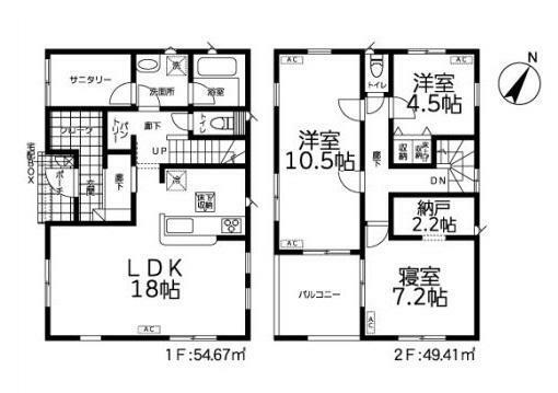 間取り図 【7号棟間取り図】3LDK 建物面積104.08平米(31.53坪)