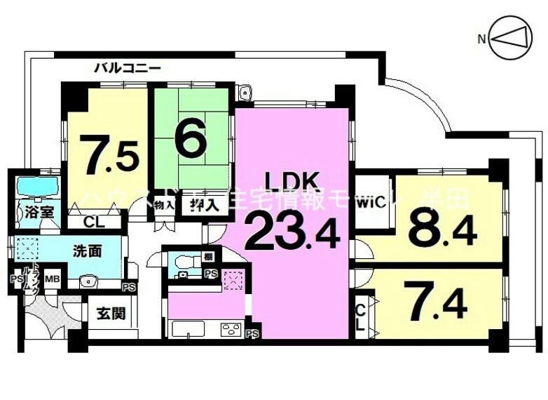 間取り図 広々とした23.4帖のLDKのある角部屋。3面にバルコニーがあり、心地よい風を感じられます。