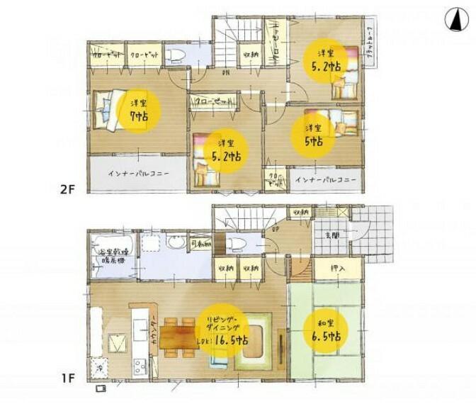 間取り図 <間取図>1号棟:5LDK+全室収納付・カースペース2台以上!