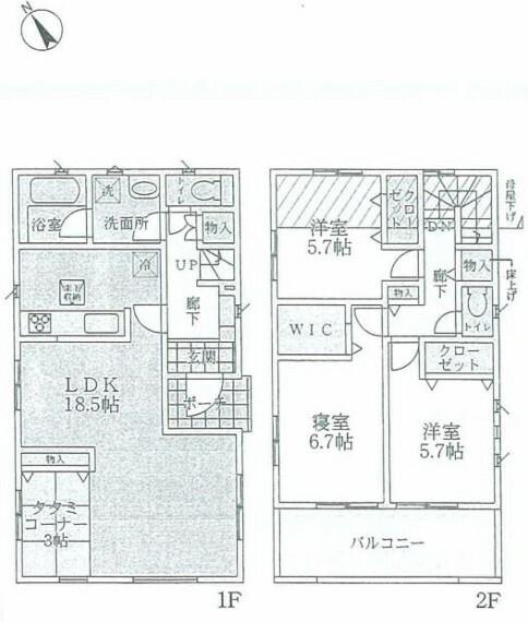 間取り図 2階建て3LDK+畳コーナー