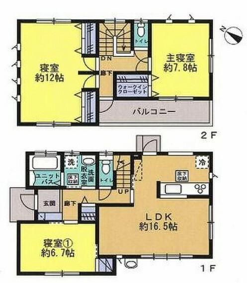 間取り図 建物面積31.24坪の3LDK。全居室6畳以上。二階洋室12畳は間仕切り壁対応で4LDKに変更可。(別途有償工事)