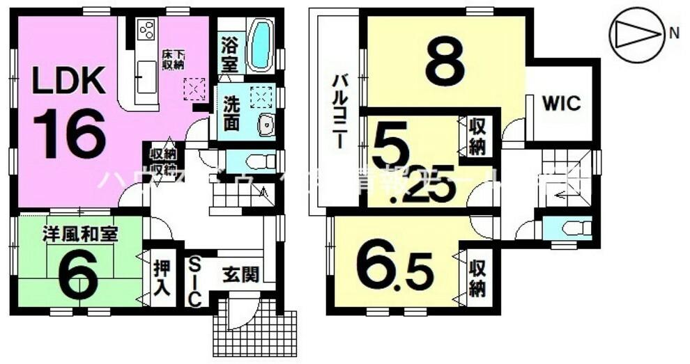 間取り図  全居室南向き 4LDK  LDKに洗面が直結している暮らしやすい間取り!