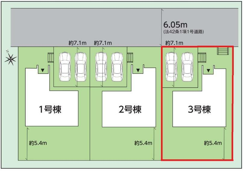 区画図 【3号棟区画図】土地面積202.12平米(61.14坪)駐車2台可能(車種によります)