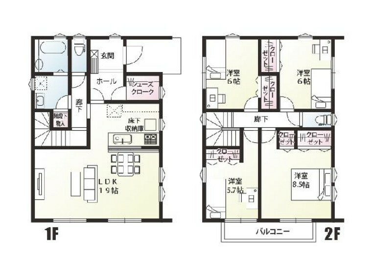 間取り図 下田島D号棟:間取り図・・・一階は家族みんなのくつろぐ空間、二階4部屋は個々のお部屋としてお使いいただけます。