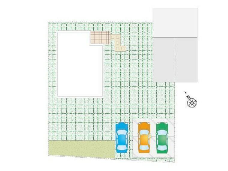 区画図 下田島D号棟:配置図・・・並列3台駐車可能です。将来的にお車の台数が増えても安心です。