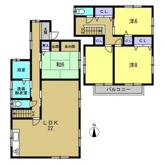 間取り図 【間取】リフォーム後の間取。5LDKから4LDKに変更予定。LDKは広々22帖に拡張しますので、家族団らんゆっくりとお過ごし頂けます。2階は全室洋室にします。