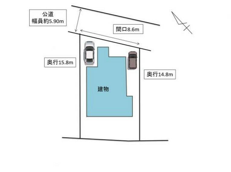 区画図 【建物配置図】現況駐車場1台分でしたが、東側に軽自動車が駐車できるスペースを作ります。