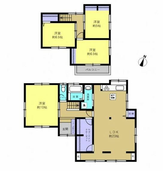 間取り図 【リフォーム中】23帖のLDKに約4帖のウォークインクローゼットが魅力の4LDKの住宅です。