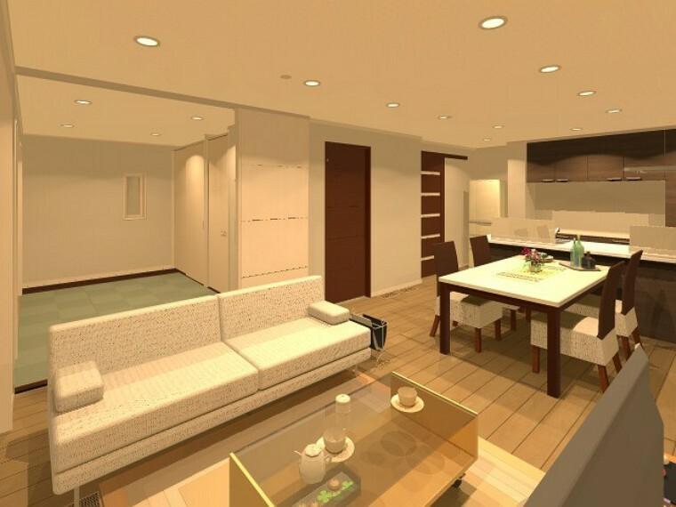 完成予想図(内観) 【A号地】リビングに5.5畳の和室が隣接。お子様が遊んだりお昼寝したり。あったらうれしい空間ですね!※完成イメージパース