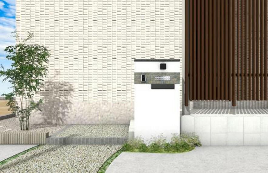 完成予想図(内観) 【A号地】玄関前にアクセントとなる門壁を。寄植や植栽が住まいを彩ります。※外観イメージパース