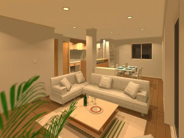完成予想図(内観) 【B号地】ゆとりあるリビング空間。大きなソファを置いてもゆとりある広さの中で過ごしていただけます。※完成イメージパース