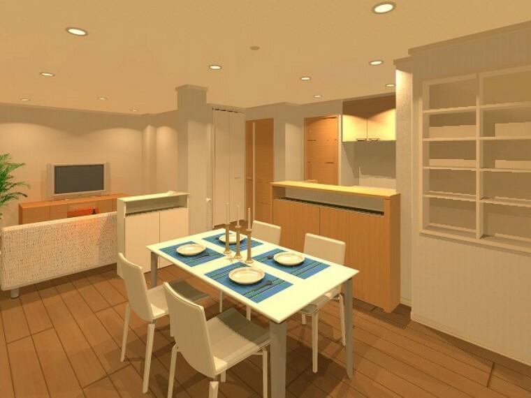 完成予想図(内観) 【B号地】収納量充実した開放的なキッチン&ダイニングエリア。対面キッチンで家族とのコミュニケーションをとりながら家事をすることが出来ますね!※完成イメージパース