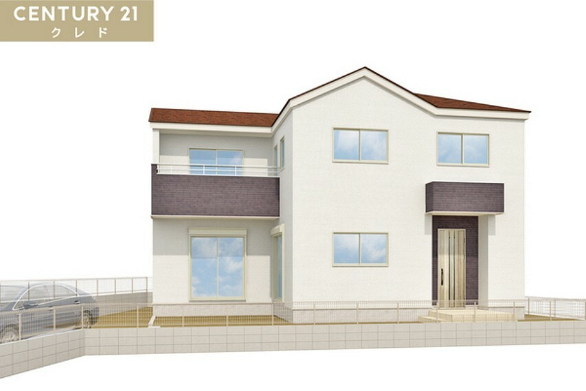 現況外観写真 白で統一された清潔感のある外壁が印象邸な新邸!嬉しい駐車場2台可能!