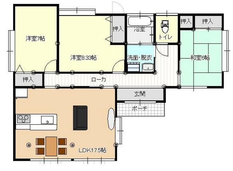 間取り図 【リフォーム後/間取り図(予定)】洋室を増やし、日当たりの良い和室の続き間をLDKに間取り変更します。幅広い世代の方が暮らしやすい家に生まれ変わります。