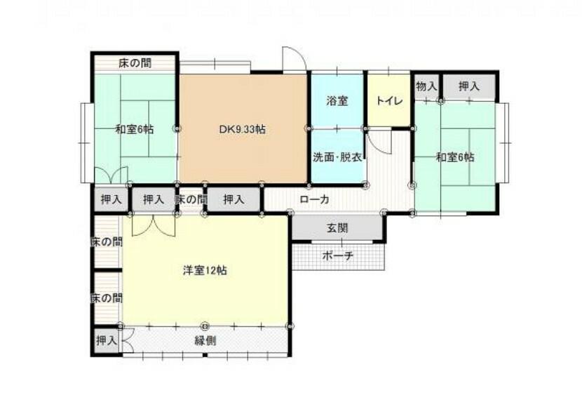 区画図 【リフォーム前/間取り図】平屋建てなので、階段のない生活ができます。ご年配の方に優しい住宅です。長く快適に住むことができます。