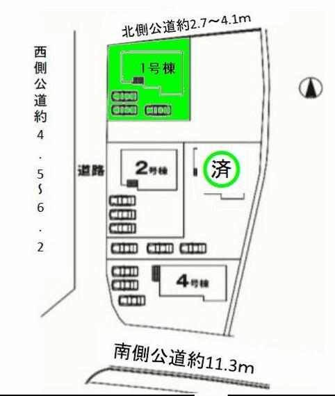区画図 敷地面積60坪!駐車スペース3台可能!陽当り良好な人気の角地