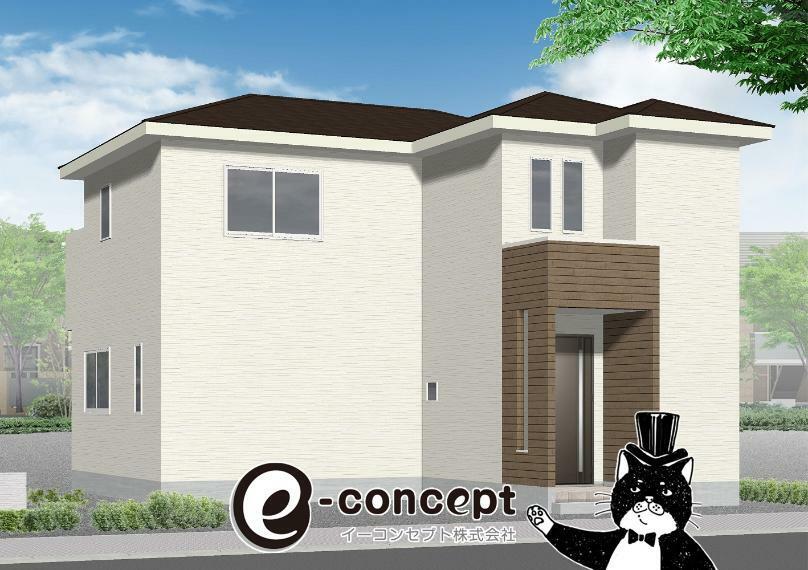 完成予想図(外観) 1号棟完成イメージ。お庭付きで駐車2~3台可能です!