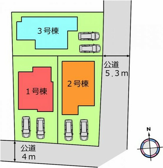 区画図 (区画)並列2台駐車可能!車通勤の共働き夫婦も安心ですね^^
