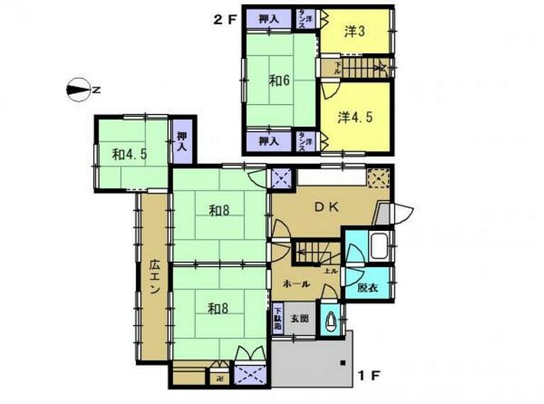 間取り図 リフォーム前の間取図です。6DKの2階建てです。4LDKへ間取り変更を行い、全室洋室に変更するので使いやすい間取りになります。