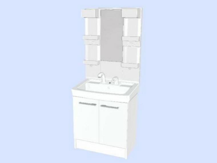 【同仕様写真】洗面化粧台はLIXIL製に交換します。実容量15Lの大型の洗面ボウルは洗顔・洗髪はもちろん、つけ置き洗いにも使えます。照明はLEDライトです。