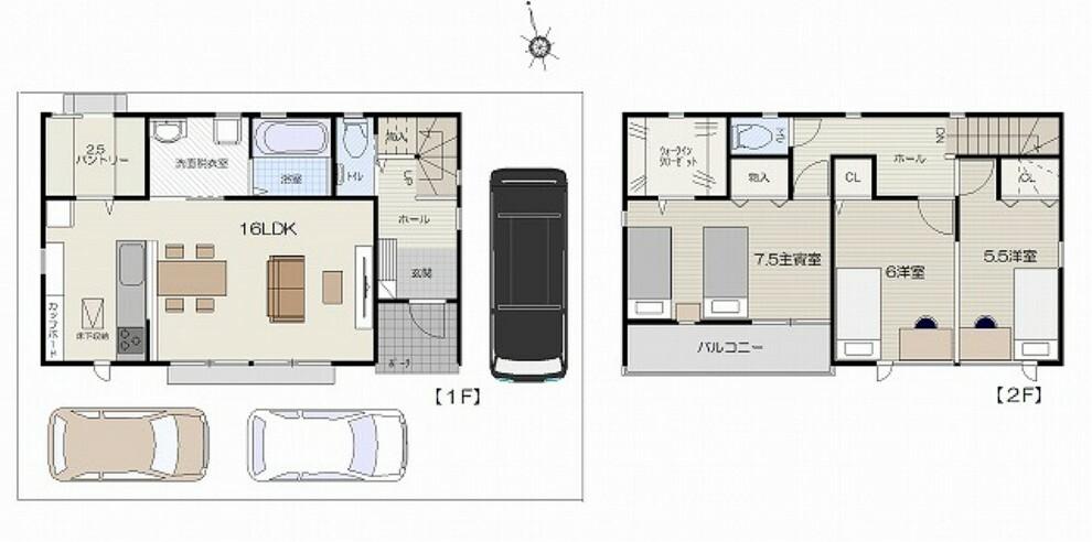 土地図面 建物プラン例価格:1780万円・延べ床面積92.74平米(28.05坪)