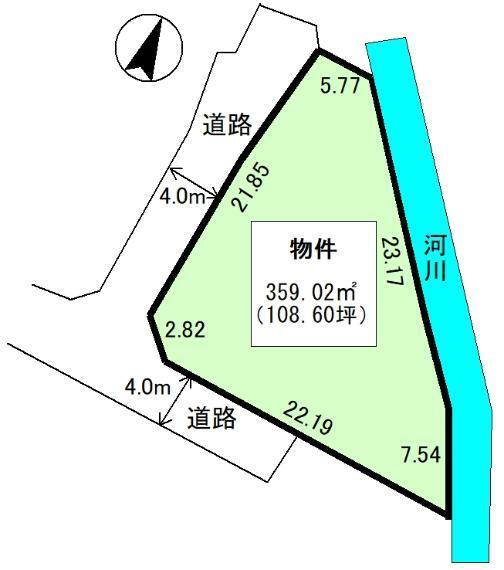 土地図面 公簿:359.02平米(108.6坪)