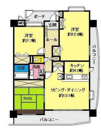 間取り図 採光・眺望・通風良好な3階部分の東南角部屋!広々とした間取形成の3LDK+WIC!専有面積96.86平米!
