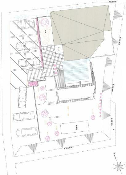 区画図 整備された外構と駐車場