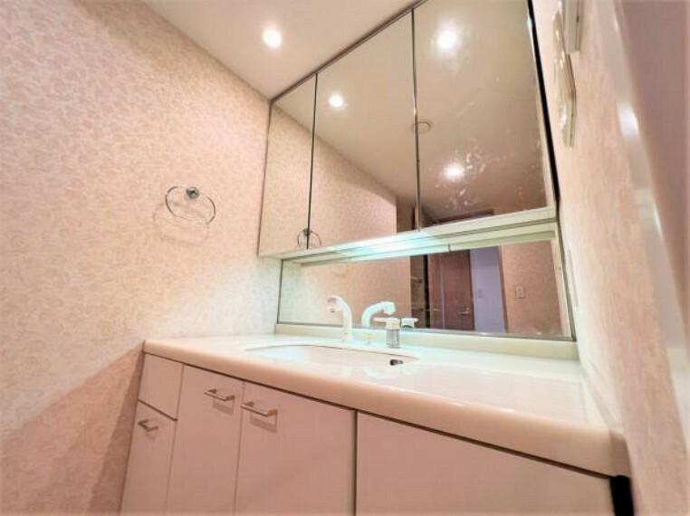 洗面化粧台 ミラー扉の内側がすべて収納スペースになっています。