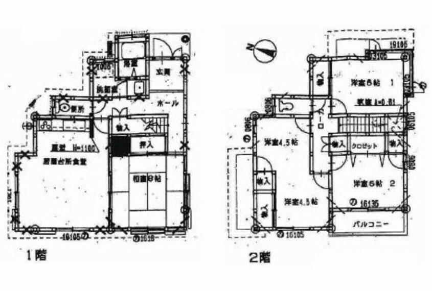 間取り図 2階9帖の洋室は間仕切りをすれば2室として使用可能です。