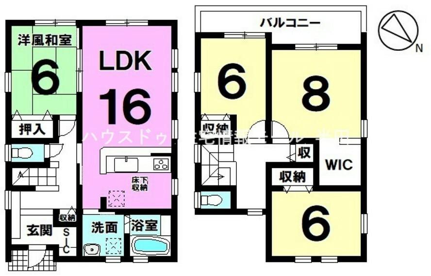 間取り図 全居室6帖以上  お子様の憧れ一人部屋も実現できる4LDK