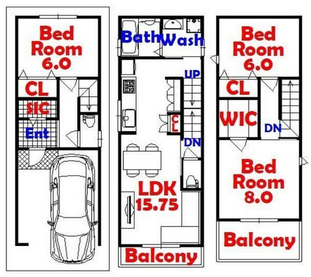 間取り図 3SLDK/家事動線バッチリ/リビング収納/ウォークインクローゼット/シューズインクローゼット/全居室収納