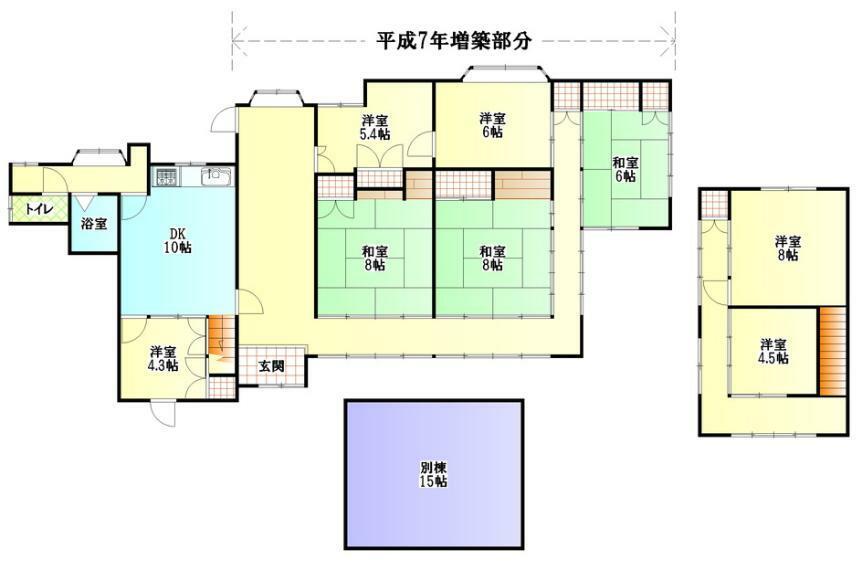 間取り図 7SLDK+別棟 平屋部分は平成7年に増築