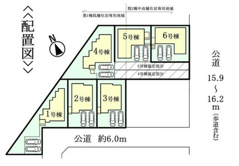 区画図 東側約15.9~16.2m公道に接面(協定道路あり) 駐車スペース並列2台