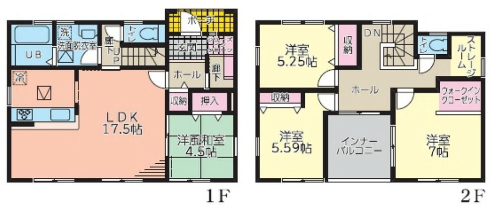 間取り図 <間取図>2号棟:4LDK+WIC+納戸