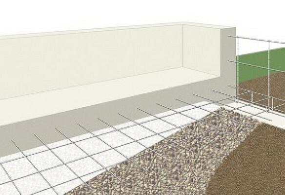 構造・工法・仕様 ベタ基礎は地面全体を基礎で覆うため、建物の加重を分散して地面に伝えることができ、不同沈下に対する耐久性や耐震性を向上することができます。