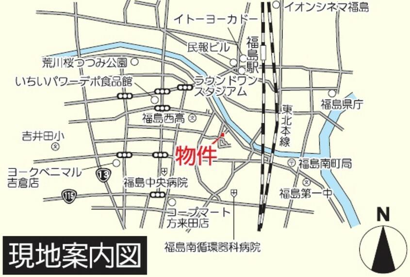 土地図面 【現地案内図】福島西高校近く!