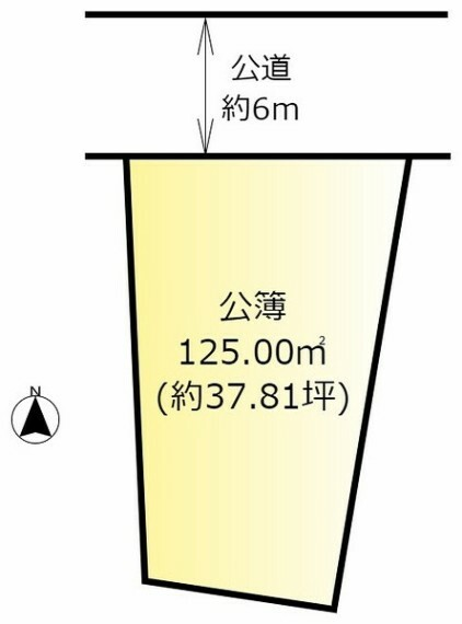 土地図面 建築条件なし・土地面積約125平米