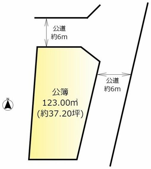 土地図面 建築条件なし・土地面積約123平米