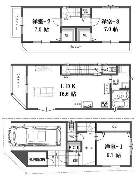 参考プラン間取り図 建物プラン例(C号地)4LDK、土地価格1530万円、土地面積56.19m2、建物価格1650万円、建物面積95.58m2