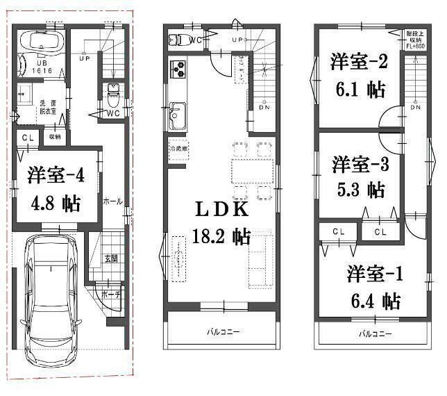 参考プラン間取り図 建物プラン例(A号地)4LDK、土地価格1620万円、土地面積51.18平米、建物価格1760万円、建物面積100.51平米