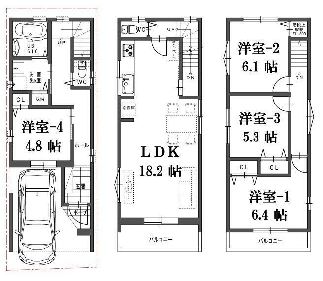 参考プラン間取り図 建物プラン例(B号地)4LDK、土地価格1620万円、土地面積50.55m2、建物価格1760万円、建物面積100.51m2
